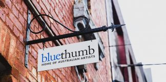 Bluethumb new gallery space sign