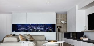 Burraneer lounge room with built in fish tank_Oliver Myles