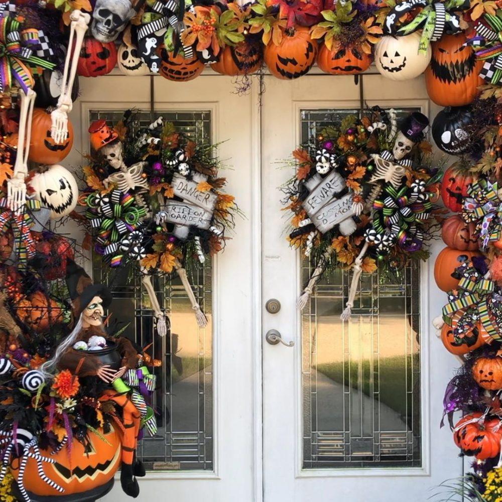 Front door Halloween home styling