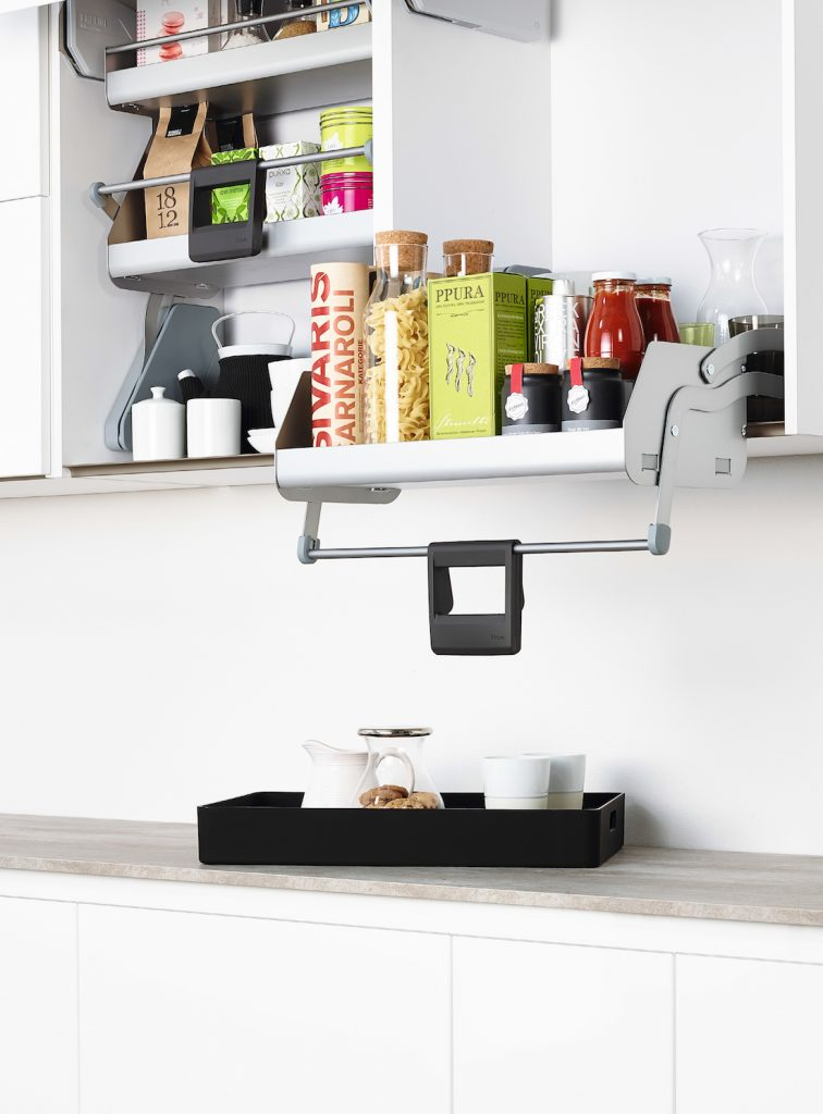 Pull down shelf kitchen storage solutions