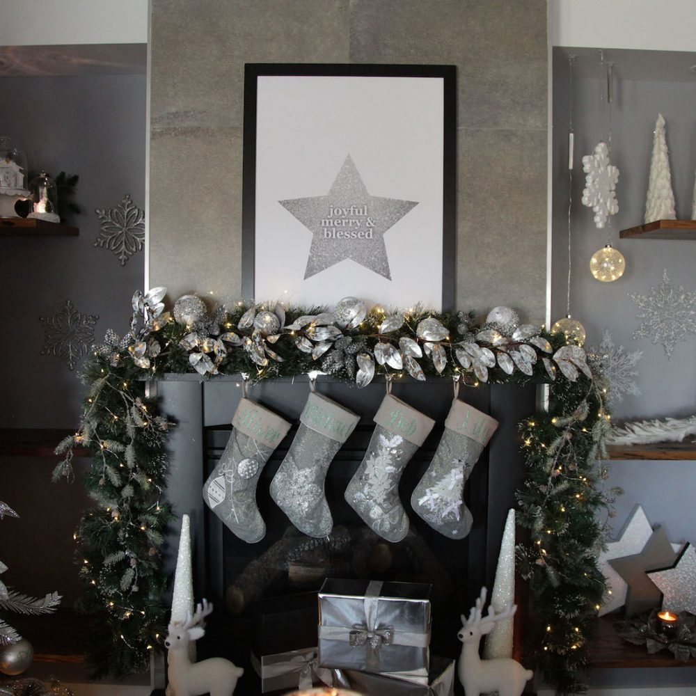 Silver Chrismtas mantle styling by The Christmas Cart