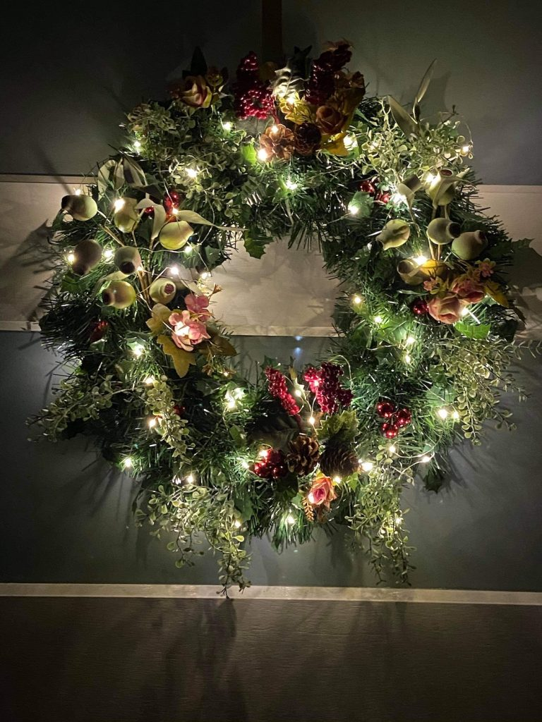 Christmas wreath at night
