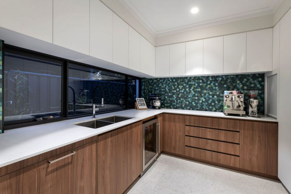 Coolbinia kitchen statement hexagon tile and bar fridge