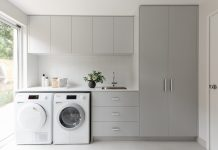 Grey and white functional family laundry renovation