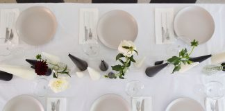Birds eye of table styling