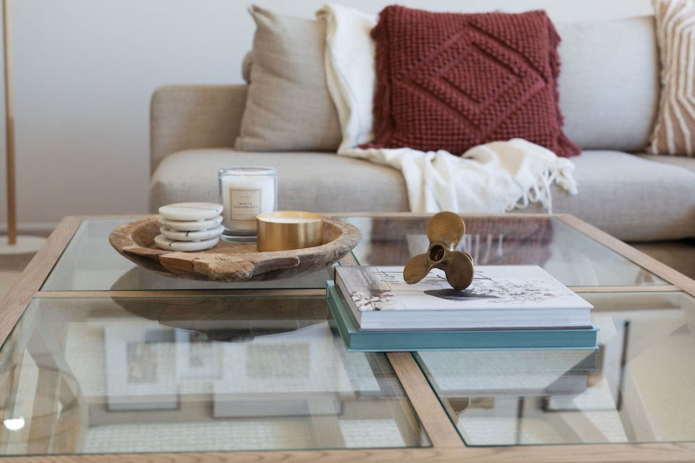 Brass decor on coffee table