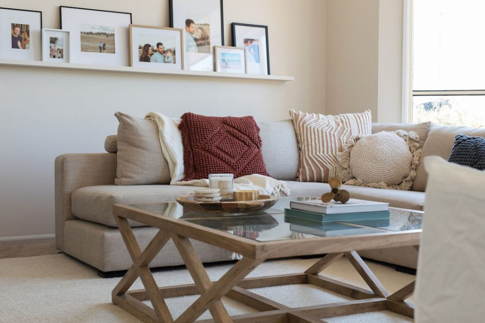 Cushion styling on sofa