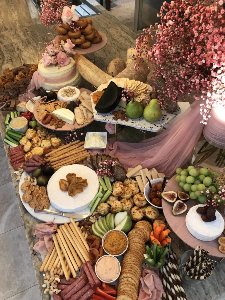 Grazing table with pink accents