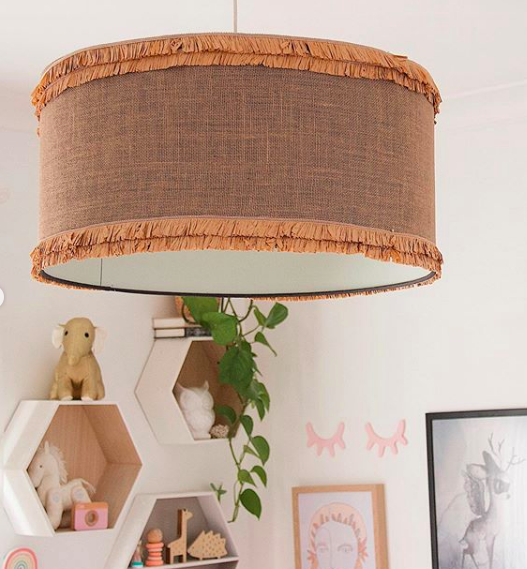 Kmart table runner lampshade makeover