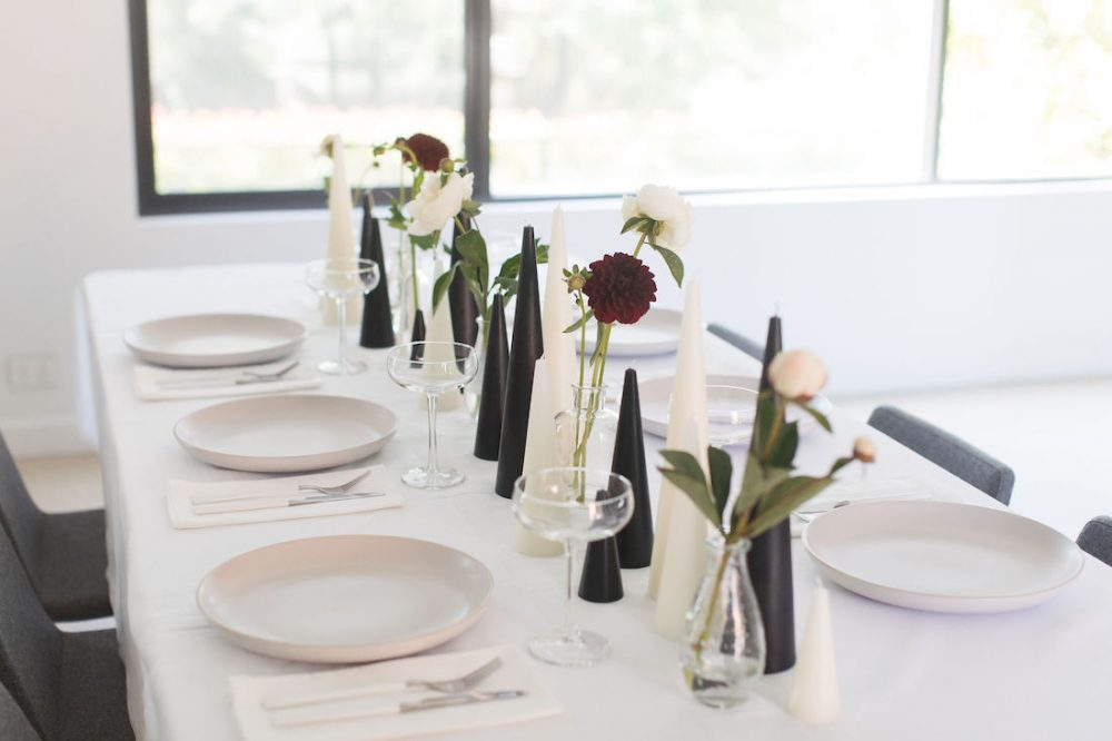 Simple floral stems elegant Christmas table styling