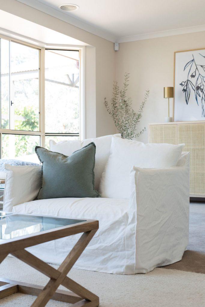 White slip James Lane armchair