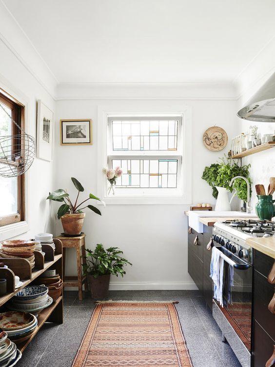 Boho kitchen with wooden touches