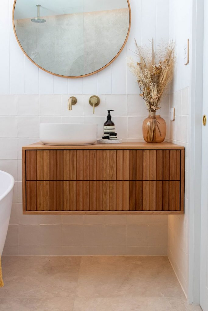 Floating vanity luxe bathroom reno