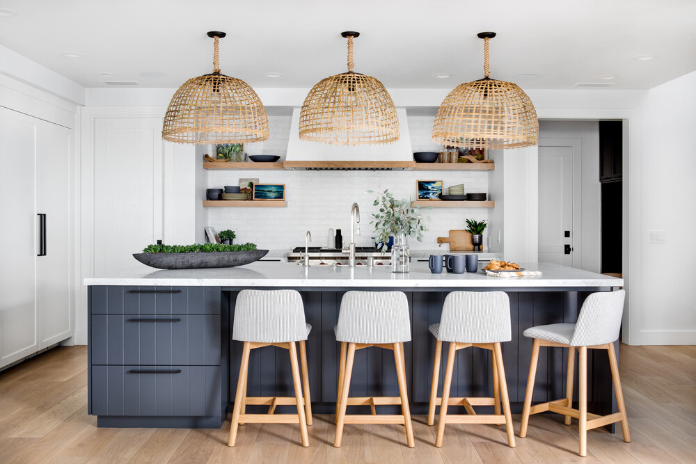 Grey cabinetry with white boho look
