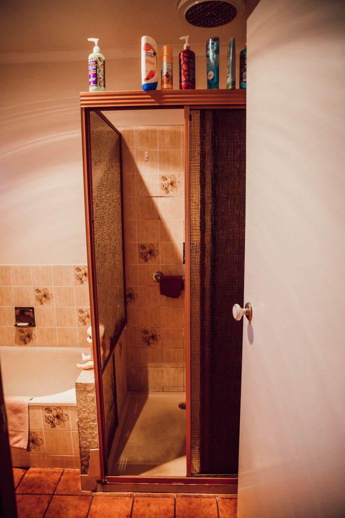 House of White bathroom before shower