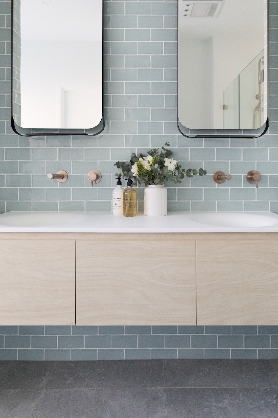 Blue subway tile bathroom bathrooms that don't use white tiles