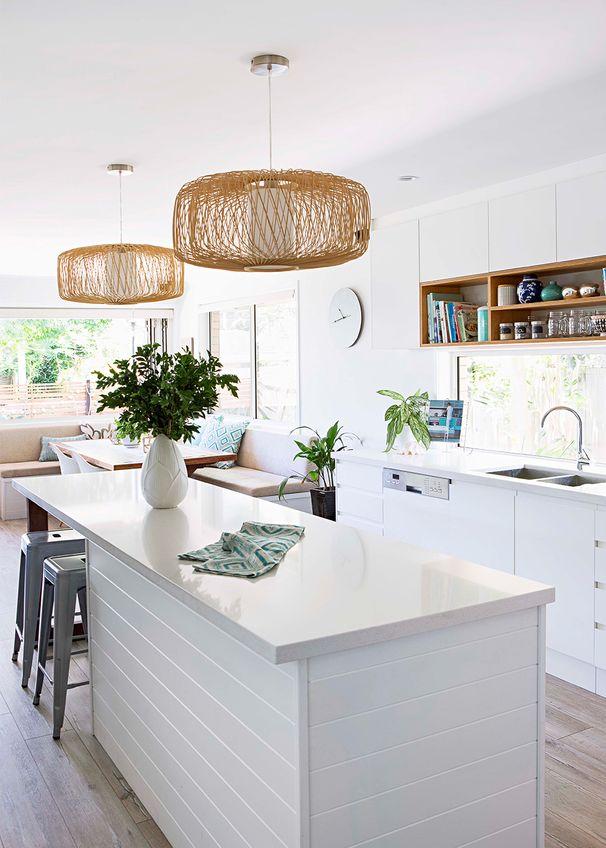 White kitchen open shelf
