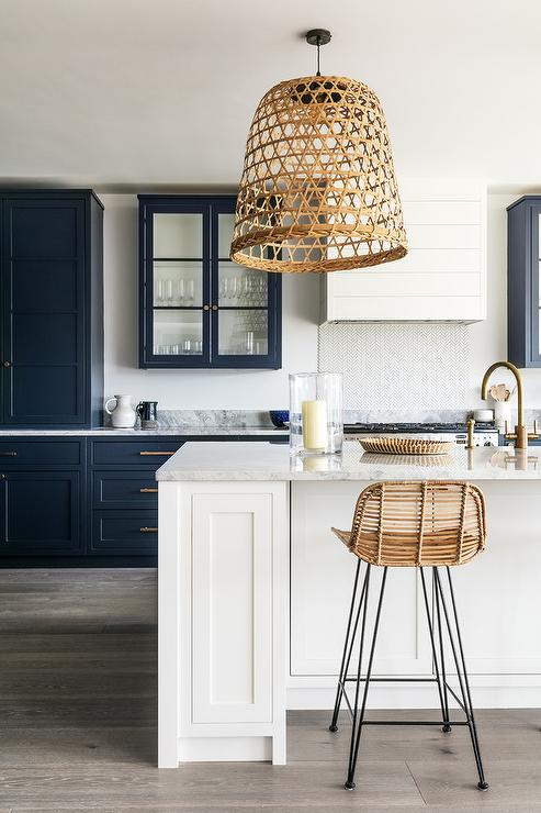 Blue cabinets with grey wash doors
