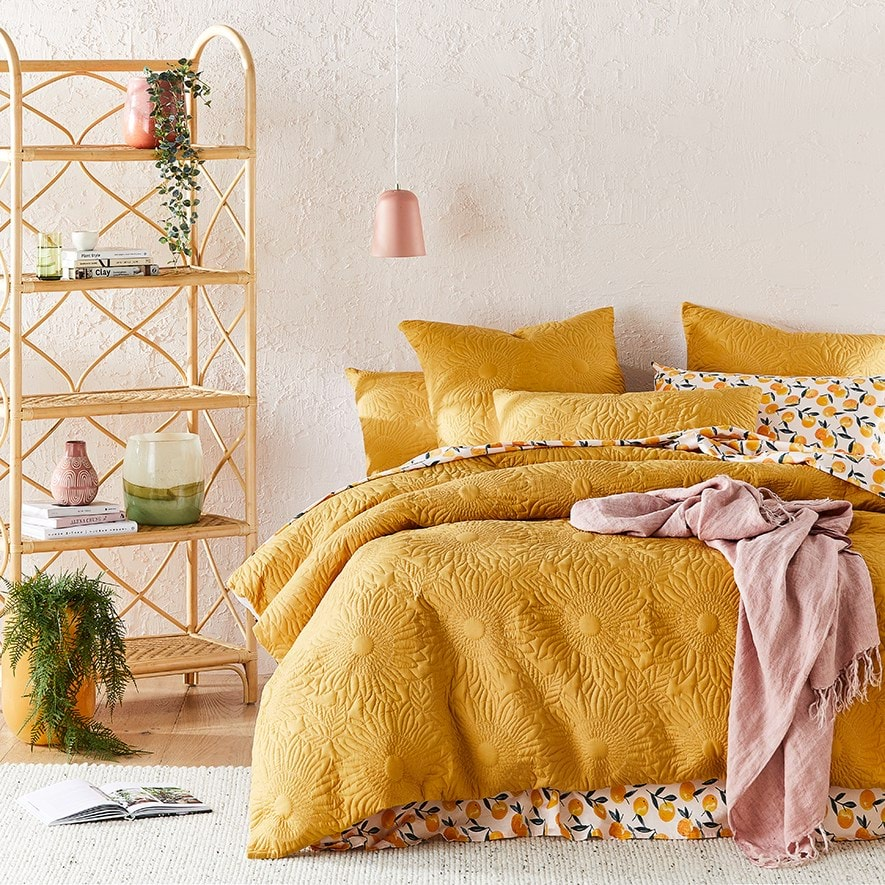 Sunflower linen quilt cover by Adairs