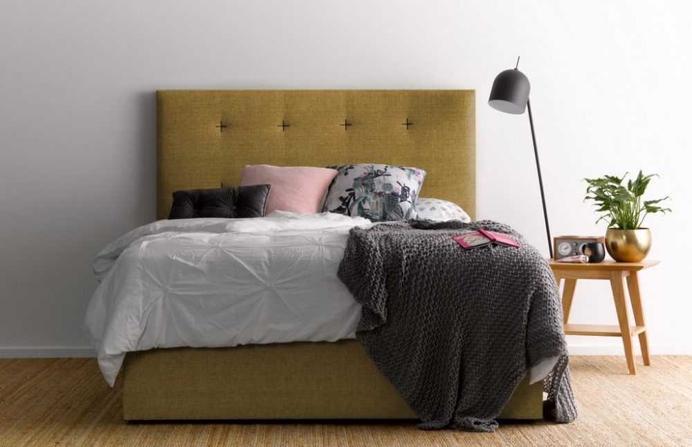 Yellow tufted bed Billys Beds custom bedheads