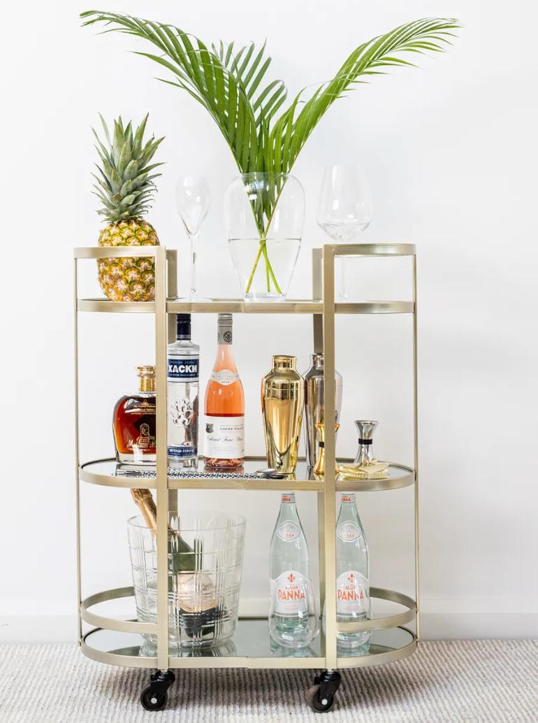 Arden silver mirrored drinks trolley
