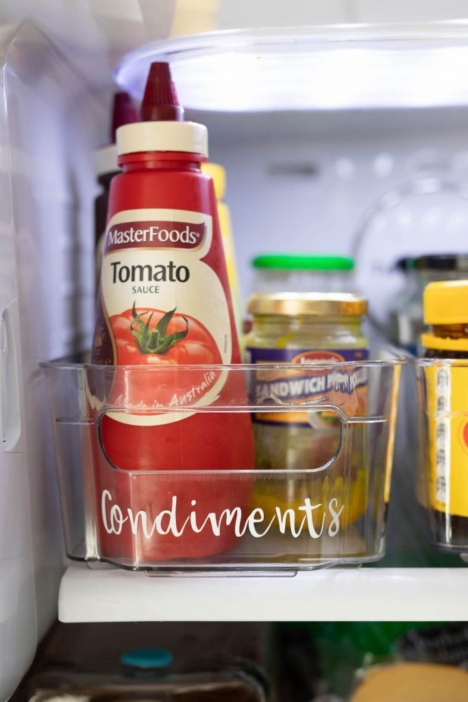 Condiments fridge organisation