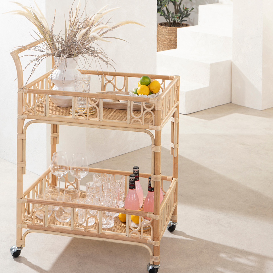 Bamboo and rattan drinks trolley