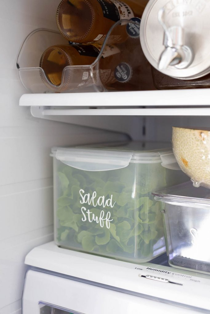 Salad box fridge organisation