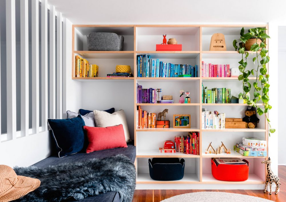 Colourful bookcase_Newmarket House_Berkeley Interiors