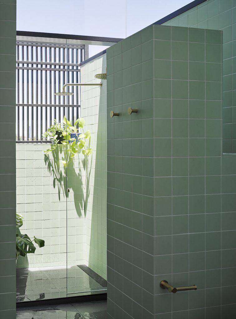 Paddington home_Kieron Gait_green tiled bathroom