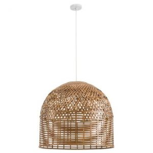Wicker dome pendant light