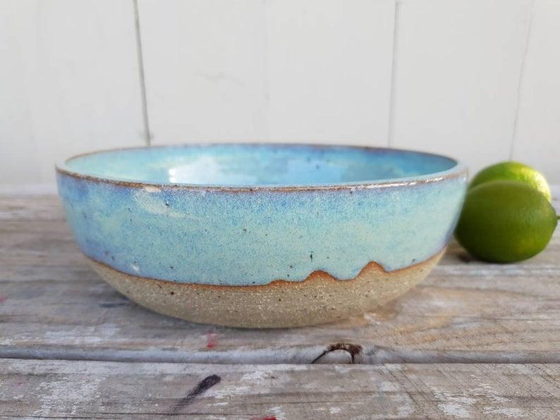 Sea glass serving bowl