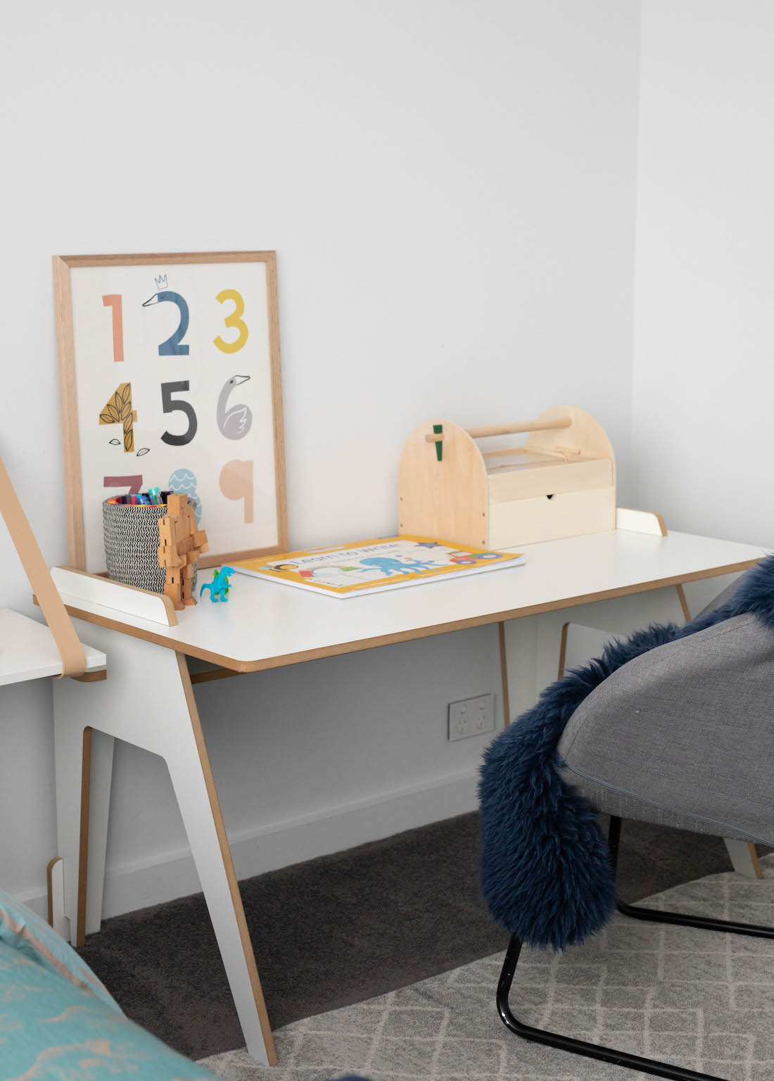 White and timber kids desk