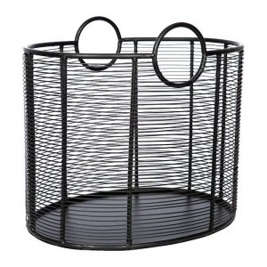 Black wire log basket