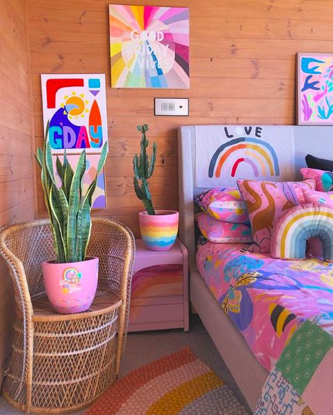 The Colour Tribe_80s home_bedroom with artwork