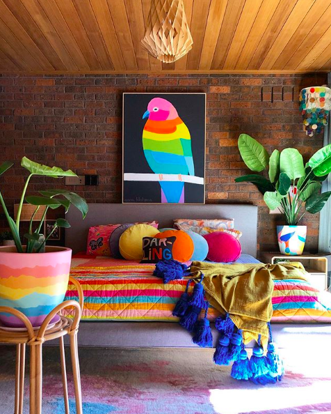 The Colour Tribe_80s home_bedroom with parrot print