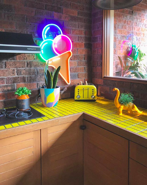 The Colour Tribe_80s home_yellow tiled kitchen bench