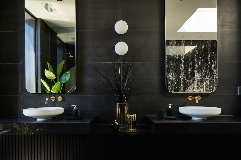 Black bathroom in modern home