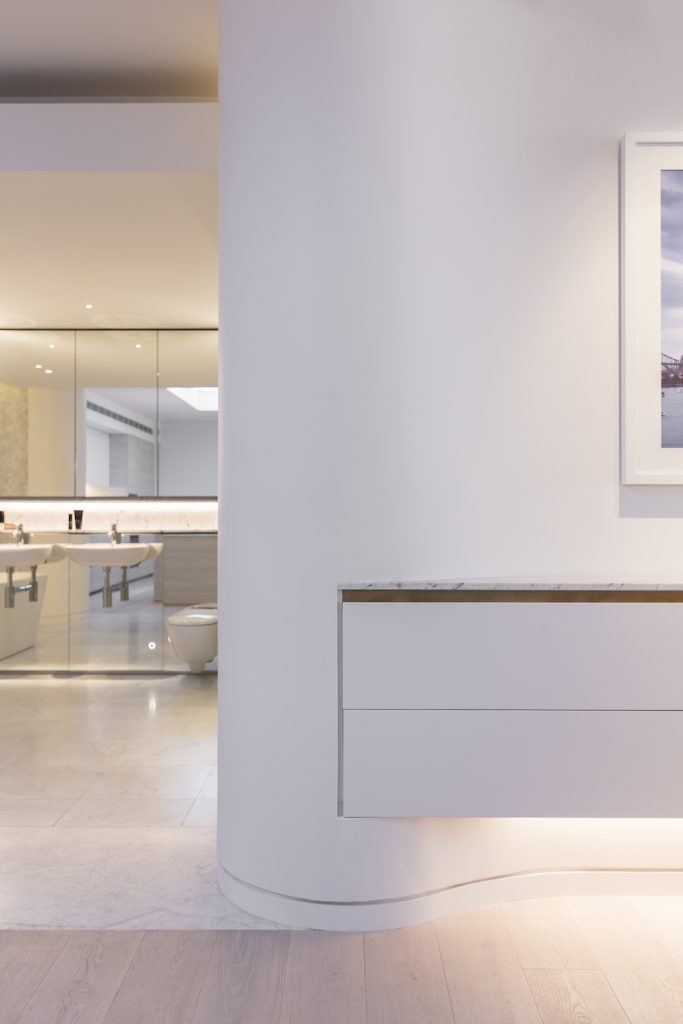 Floating cabinetry in home