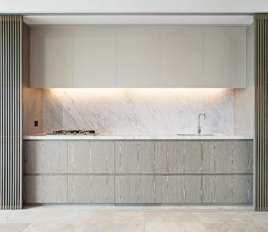 Kitchen with sliding screen doors