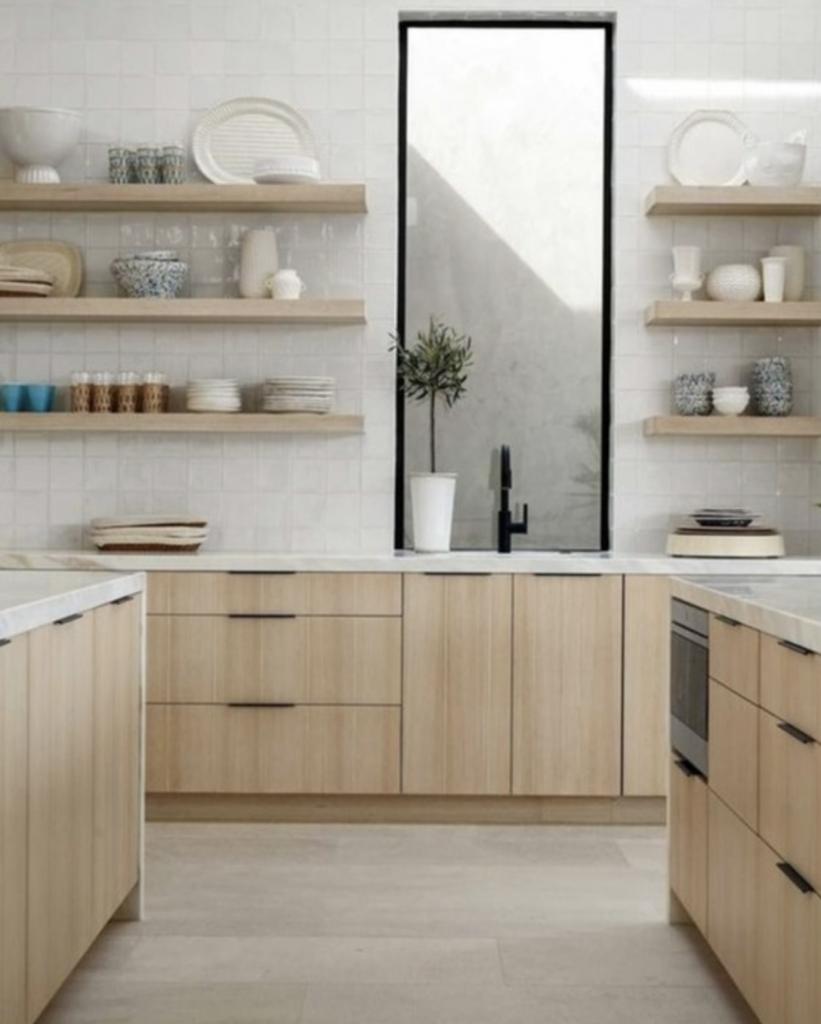 Multiple kitchen shelves