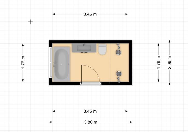 2D plan of current bathroom layout