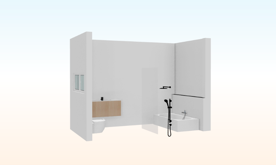 3D render of new bathroom layout