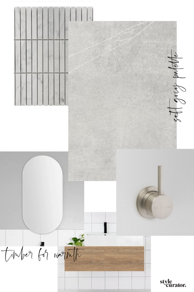 Bathroom renovation materials palette Style Curator bathroom planning