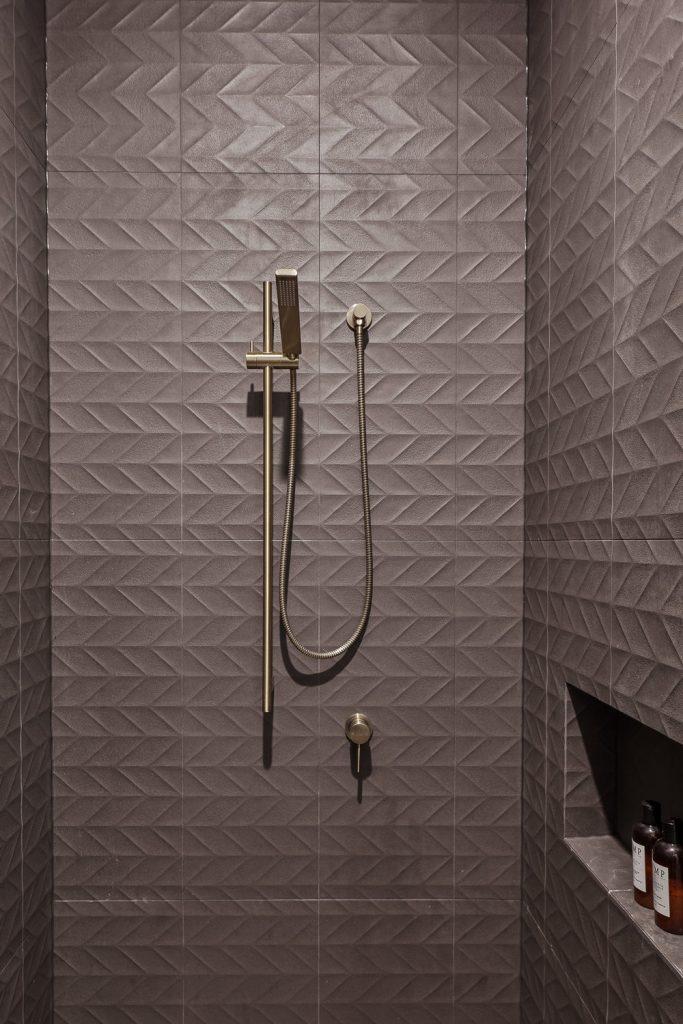 Textured tile shower