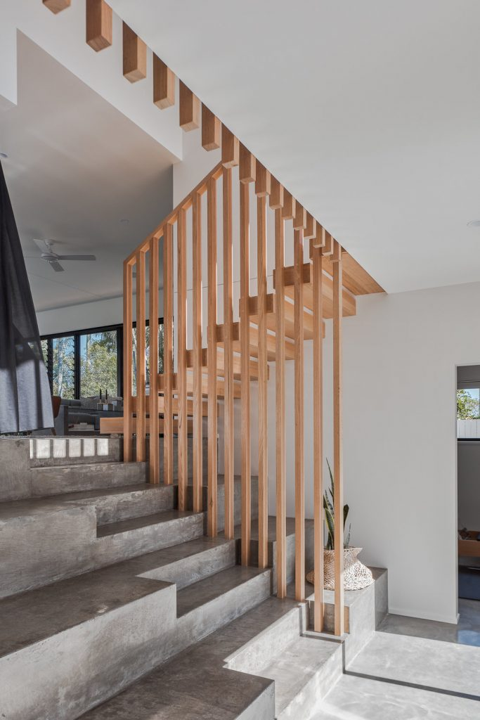Wood and concrete staircase