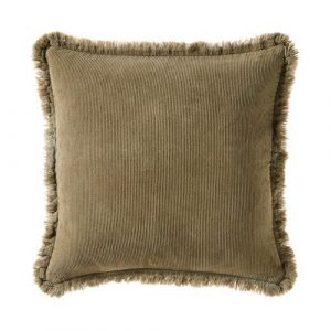 Corduroy cushion with fringe