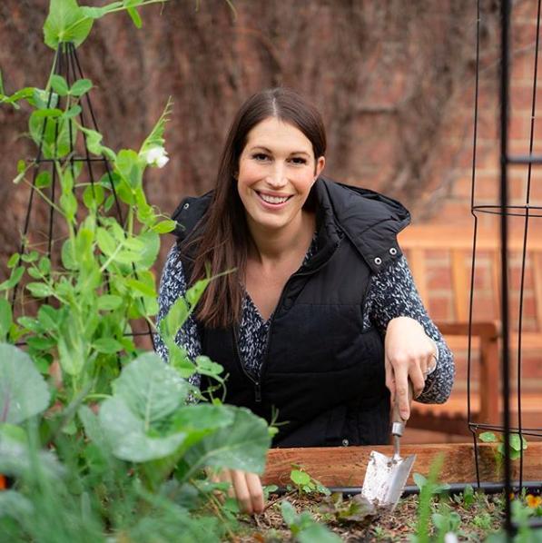 Ingrid Devlin in veggie garden
