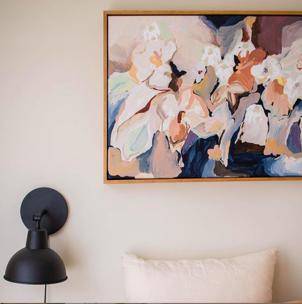 Prudence DeMarchi artwork above bed