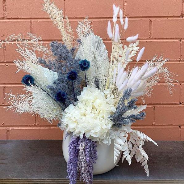 Blue Dried floral arrangement by Alitalia Florist